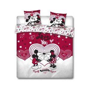 Parure de lit Mickey et Minnie love rouge 240x220 cm